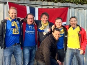 Norwegian Supporters Club and terrace stalwarts looking better than they should after a night out involving brandy.....