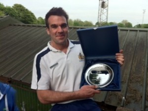 Club captain, Ben Martin with play-off trophy