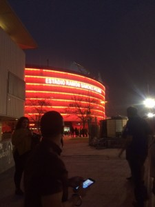 Sevilla's stadium - all lit up to guide those who might have had one too many